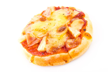 mini pizza: Mini Pizza on white background Stock Photo