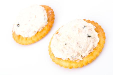 tuna mayo: Tuna cracker on white background Stock Photo
