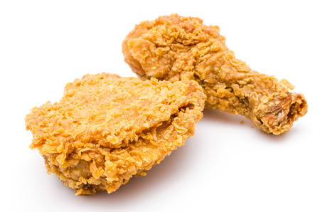 crispy: Fried chicken on white background