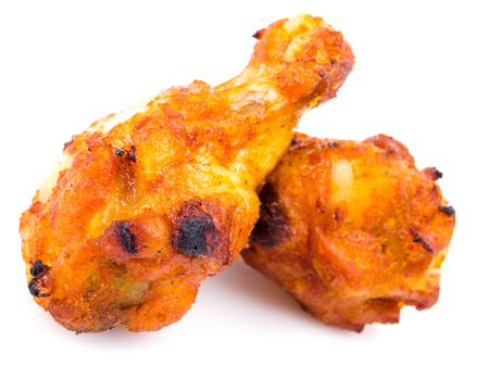 chicken fingers: Spicy chicken wings on white background