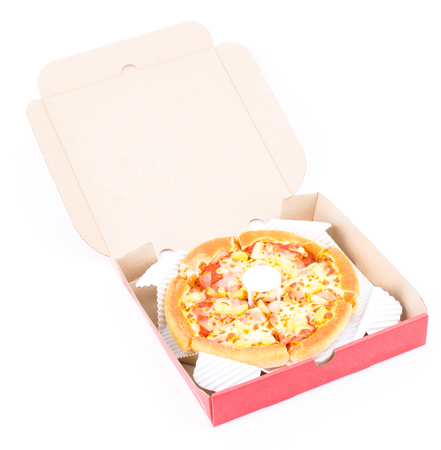 Pizza box on white background photo