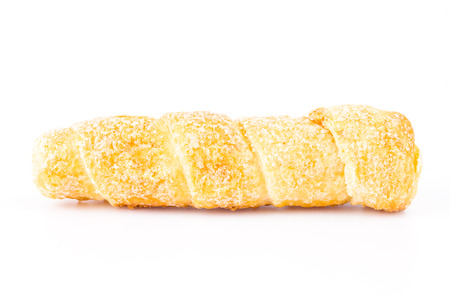 Cream bread on white background photo