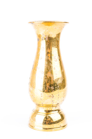 holy jug: Brass old vase on white background