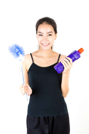 Women with toilet brush photo