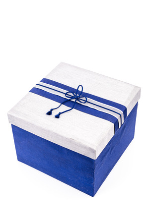 Blue gift box isolated on white photo