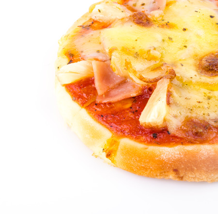 mini pizza: Mini Pizza isolated on white Stock Photo