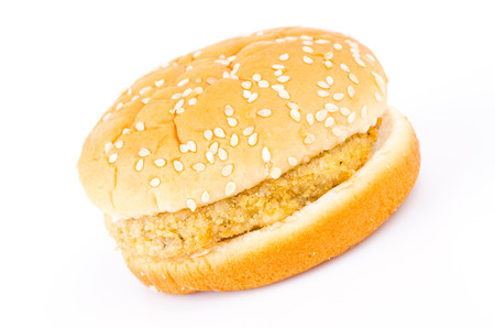 Chicken hamburger isolated on white photo