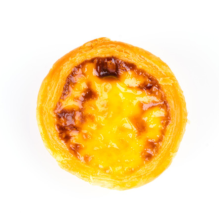 Egg tart isolated on white photo