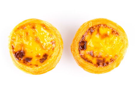 Egg tart isolated on white