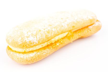 Cream bread isolated on white photo