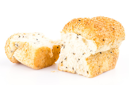 French sesame bread on isolated white background photo