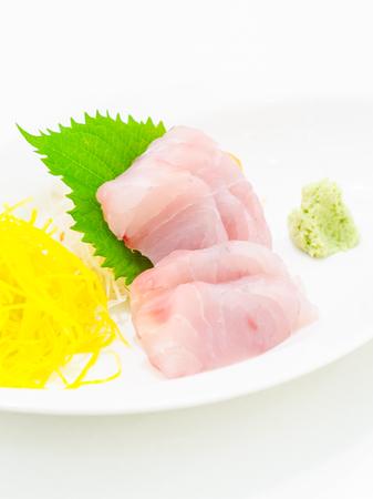 white perch: Raw fresh White perch sasimi , sushi Stock Photo
