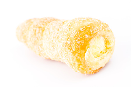Cream bread on white background photo