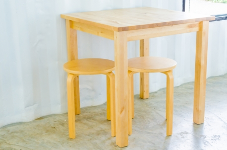 Wood table and chair photo