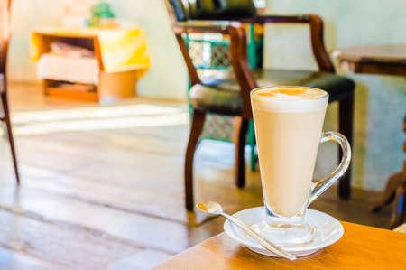 Latte Coffee in coffee shop photo