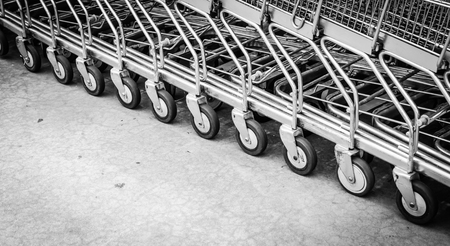 Focus on wheel shopping cart photo
