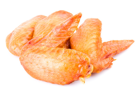 Smoked chicken wings on white background Stock Photo - 23524566