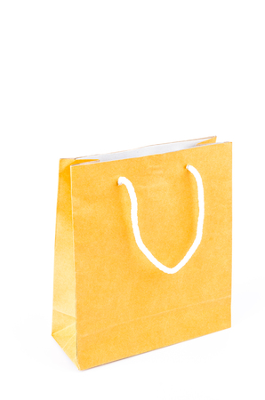 Brown paper bag on white  photo