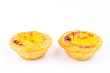Egg tart on white background photo