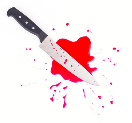 Knife blood on isolated white background