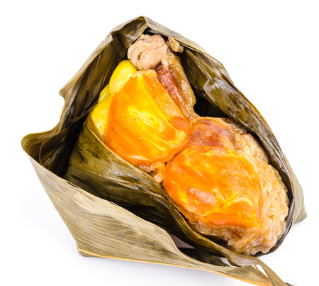 Zongzi on isolated white background photo