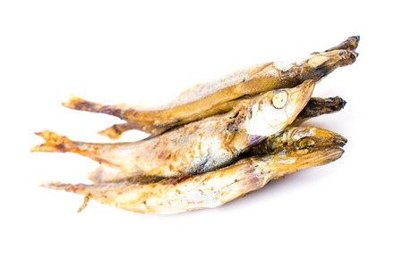 Shishamo fish on white background photo