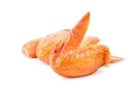 Smoked chicken wings on white background Stock Photo - 24191922