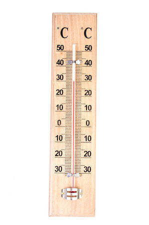 Thermometer on isolated white background photo