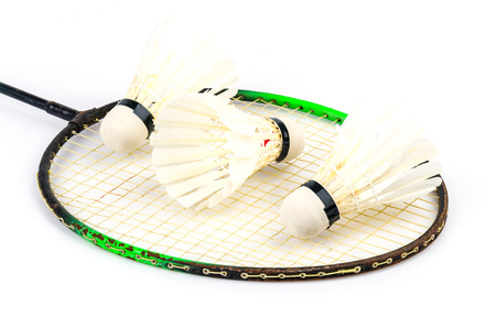 Shuttlecock on isolated white background photo