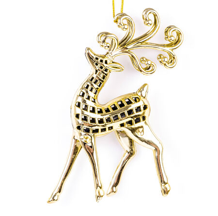 christmas reindeer: Gold reindeer on isolated white background using as decorate christmas tree Stock Photo