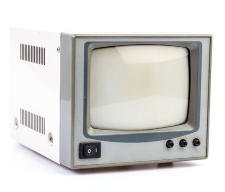 Electric vintage television on isolated white background photo