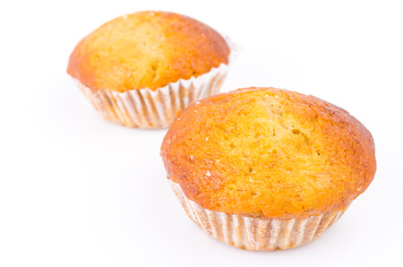 Banana cupcake on white background photo