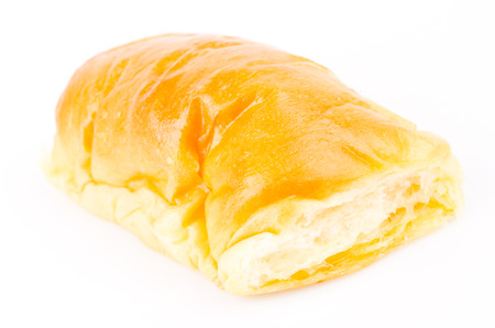 Bread butter on white background photo