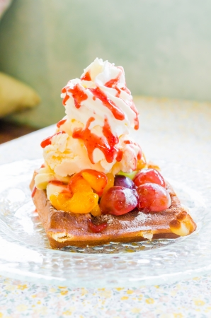 Waffle fruit and icecream photo