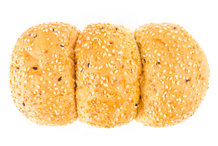 French sesame bread on isolated white photo