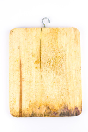 chopping block on isolated white  photo