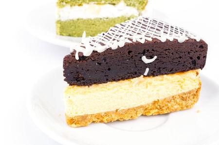 Brownie cheese cake and green tea cake  photo