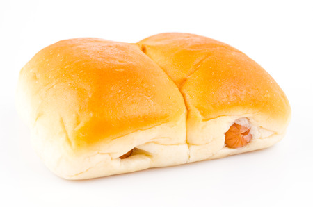 Sausage bread on isolated white photo