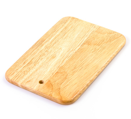 Wood cutting board on isolated white
