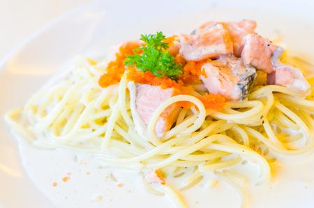 Salmon pasta photo