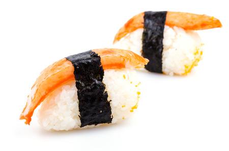gastronome: Sushi crab stick on white background