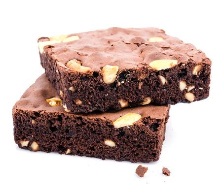 Brownie auf weißem Hintergrund  Lizenzfreie Bilder