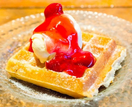 waffle served with icecream photo