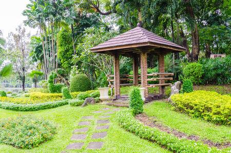 pavillion: Pavillion in the garden park Stock Photo