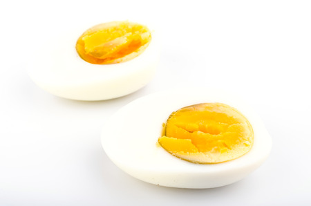 Boiled eggs on white background photo