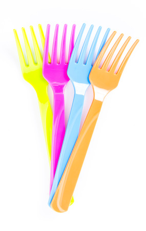 Color plastic forks photo