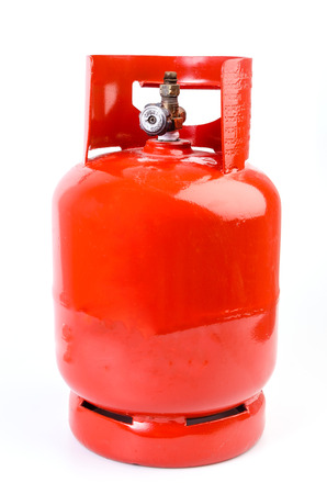 gas stove: Gas bottle on isolated white background Stock Photo