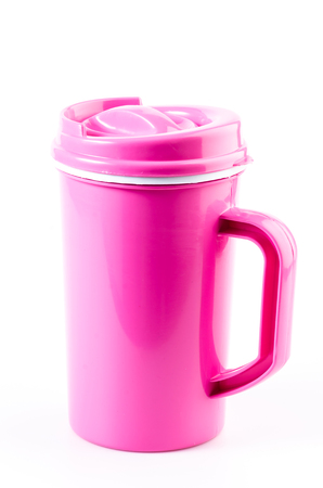 insulated drink container: Plastic mug on isolated white background