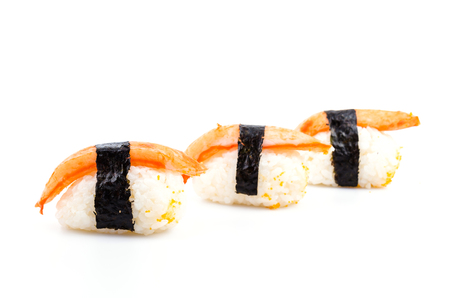 Sushi crab stick on white  photo