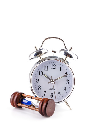 clock sand clock isolated white background photo